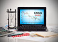 Crisis chart on screen laptop Royalty Free Stock Photo