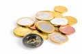 Crisis of euro-zone, some euro coins Stock Photography