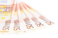 Crisis of eurozone, 50-euro banknotes Royalty Free Stock Photography