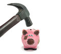 Crisis in financial situation with piggy bank Stock Photography
