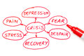 Crisis Flow Chart Red Marker Royalty Free Stock Images