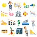 Crisis symbols business sign finance flat vector illustration symbols Royalty Free Stock Photo