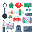 Crisis symbols concept problem economy banking business finance design investment icon vector. Royalty Free Stock Photo