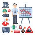 Crisis symbols concept problem economy banking business finance design investment icon vector.