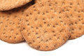 Crisp breads round on a white background Stock Image