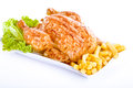 Crisp golden roast chicken Royalty Free Stock Image