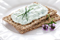 Crispbread with curd Royalty Free Stock Photo