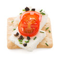 Crispbread with fromage tomato and olives isolated on white background Royalty Free Stock Images