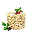 Crispbread with lingonberries Royalty Free Stock Photo