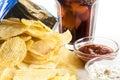 Crisps and coke glass of potato ketchup mayonnaise Stock Photography