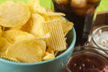Crisps and coke Royalty Free Stock Photo