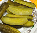 Crisps freshly salted green cucumber plate national russian food Stock Photography