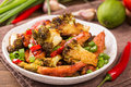 Crispy chilli chicken with brocolli Royalty Free Stock Photo