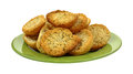 Crispy Dried Bread Slices Green Plate Royalty Free Stock Photo