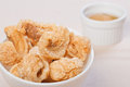 Crispy fried pork fat also known as chicharon a popular snack or ingredient in the philippines Stock Images