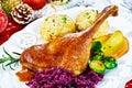 Crispy golden roasted Christmas turkey leg Royalty Free Stock Photo