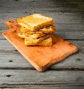Crispy hot sandwiches with cheese Royalty Free Stock Photo