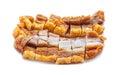 Crispy pork slice isolated on white background Royalty Free Stock Photo