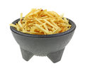 Crispy potato sticks black pedestal bowl fine and crunchy in a Royalty Free Stock Image
