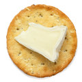 Crispy round cheese cracker from above. Royalty Free Stock Photo