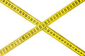 Criss cross measuring tape isolated on white Royalty Free Stock Photos