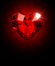 Cristal hert heart shaped diamond on a black background ruby Stock Photography