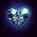 Cristal hert heart shaped diamond isolated on a black background Stock Photo