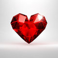 Cristal hert heart shaped diamond isolated on a white background Stock Photo