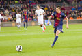 Cristian tello in action at spanish league match between fc barcelona and rdc mallorca final score on april in barcelona spain Royalty Free Stock Photos