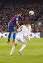 Cristiano ronaldo and dani alves in action at the spanish cup match between fc barcelona real madrid final score on january in Royalty Free Stock Photos
