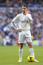 Cristiano ronaldo of real madrid whispers strategy before freekick ballon dor to his team mates secretly the shooting a during the Royalty Free Stock Photos