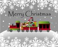 Cristmas cartoon train with bear and presents Royalty Free Stock Photography
