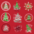 Cristmas emblems vector set of designs Royalty Free Stock Photo