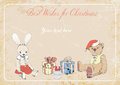 Cristmas picture illustration rabbit teddy bear christmas gifts on grunge background with space for text Stock Photos