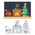Cristmas Room New Year Santa Claus Icons Greeting Card Elements Flat Lineart Design
