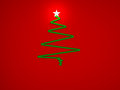 Cristmas tree with star for greeting card Stock Image