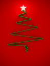 Cristmas tree with star for greeting card Stock Photography