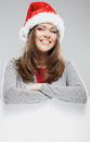 Cristmas woman hold banner isolated portrait Royalty Free Stock Photography