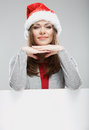 Cristmas woman hold banner isolated portrait Royalty Free Stock Images