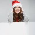 Cristmas woman hold banner portrait Royalty Free Stock Image
