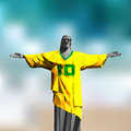 Cristo redentor illustration in triangular pattern style wearing the number shirt Royalty Free Stock Photography