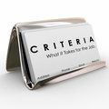 Criteria business card what it takes for job skills worker exper word on cards and the to illustrate qualities and experience Stock Photography