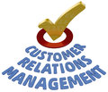 Crm check customer relations management mark in circle symbol to ok support Royalty Free Stock Photos