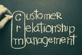 Crm hand mark on of customer relationship management words that written by chalk on blackboard Royalty Free Stock Images