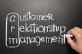 Crm hand writing customer relationship management words by chalk Royalty Free Stock Photos