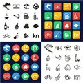 Croatia All in One Icons Black & White Color Flat Design Freehand Set Royalty Free Stock Photo