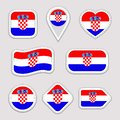 Croatia flag stickers set. Croatian national symbols badges. Isolated geometric icons. . Vector official flags