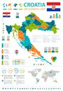 Croatia - infographic map and flag - Detailed Vector Illustration Royalty Free Stock Photo