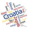 Croatia map and cities words cloud with larger Royalty Free Stock Photography