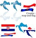 Croatia - map and flag set Royalty Free Stock Photo